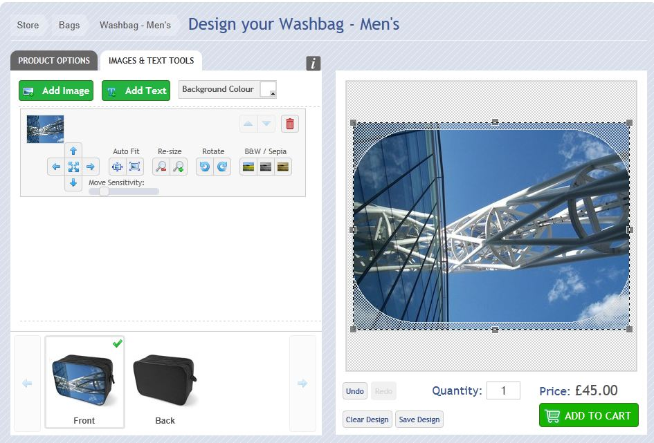 How to upload your image for the washbag for men