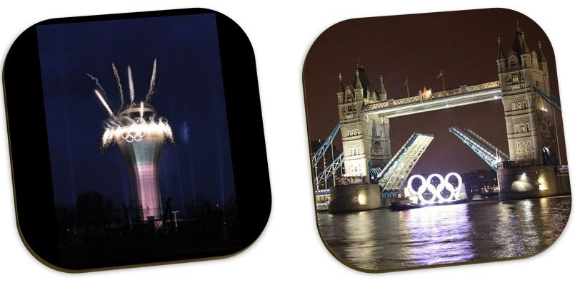 photos of olympics on personlaised photo coasters