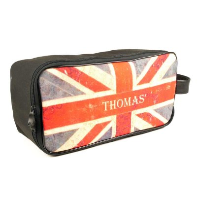 a personalised bag for a man customised with union jack and text