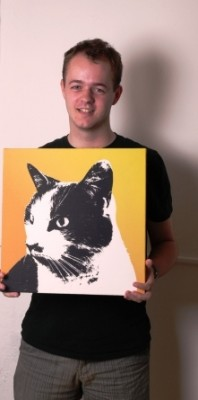 Che Pop Art canvas art with picture of cat