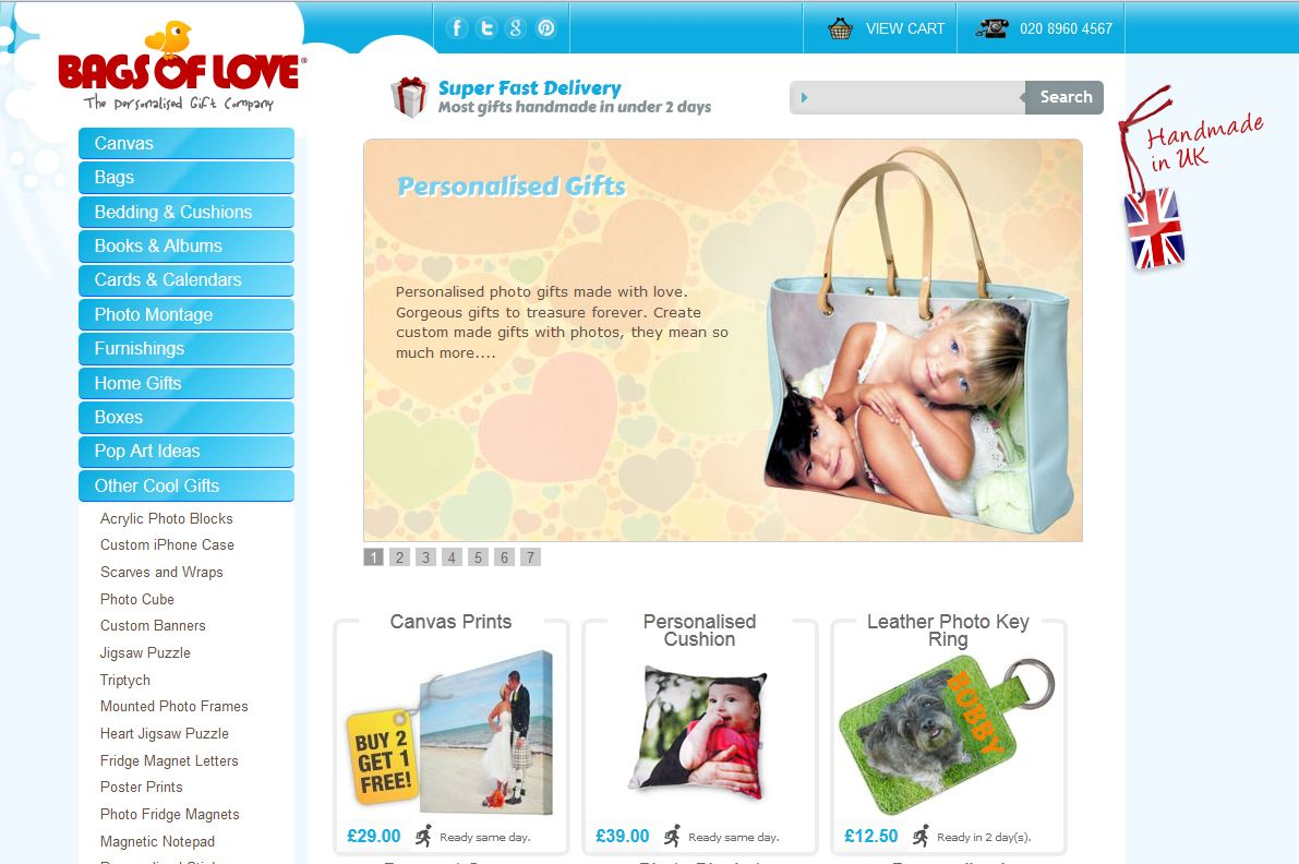 redesign of bags of love website