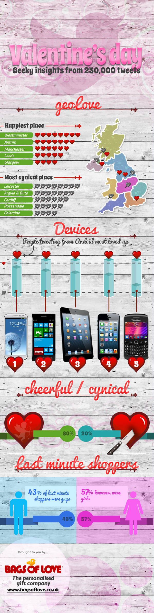 Geeky Insights from 2013 Valentines Day Tweets Infographic by Bags of Love