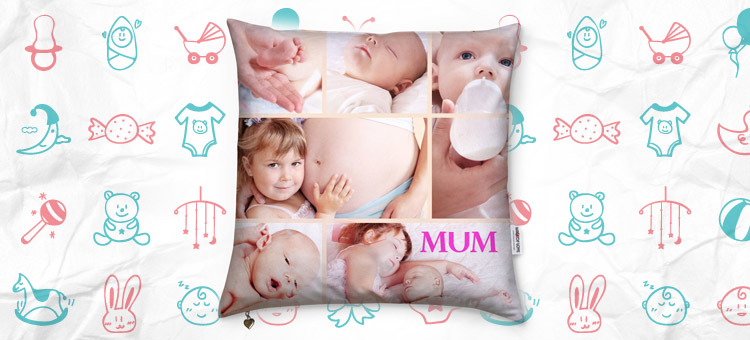 baby on a cushion for mothers day