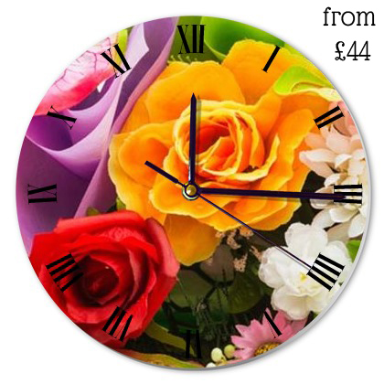 floral-print-round-clock
