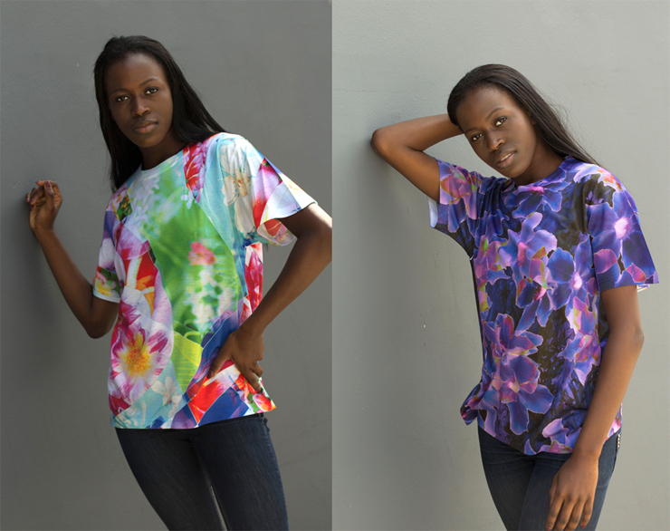 model-wearing-floral-print-t-shirts