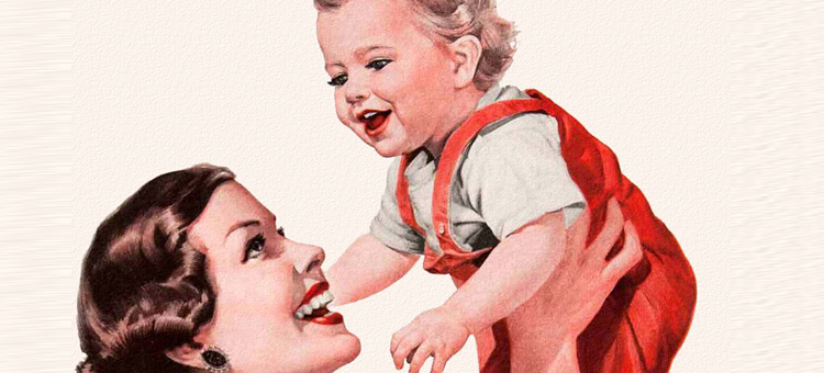 mother and child 1950s retro picture