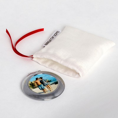 personalised compact mirror in pouch