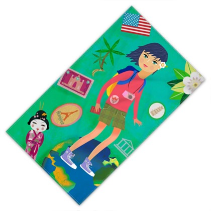 backpacking girl across the world towel design