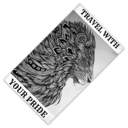 travel with your pride design towel with picture of lion