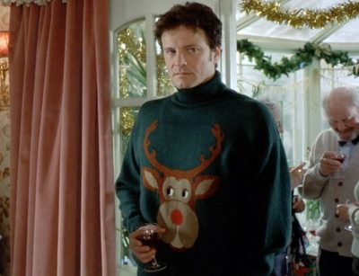 mark darcy wearing a reindeer christmas jumper