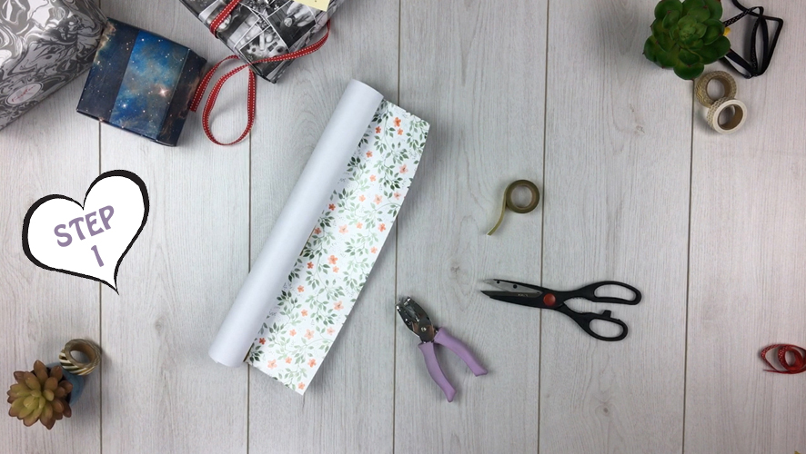 how to make a gift bag from wrapping paper step 1