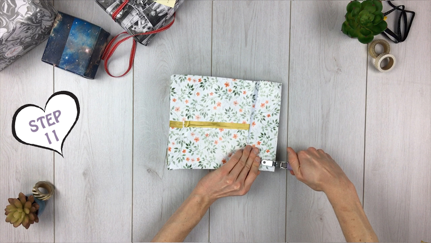 how to make a gift bag from wrapping paper step 11