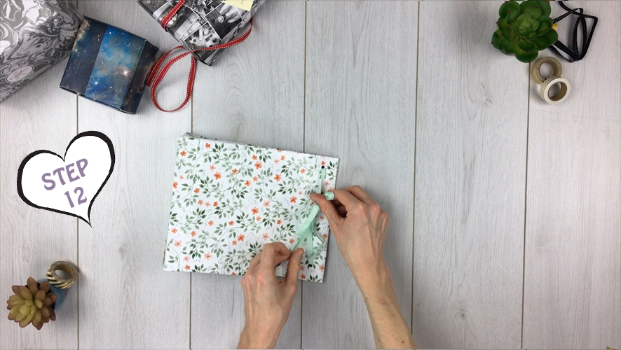 how to make a gift bag from wrapping paper step 12