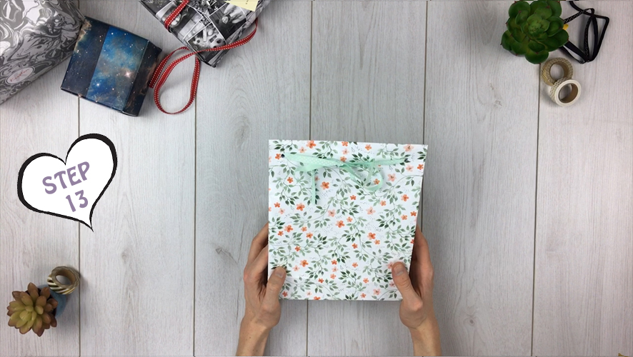 how to make a gift bag from wrapping paper step 13