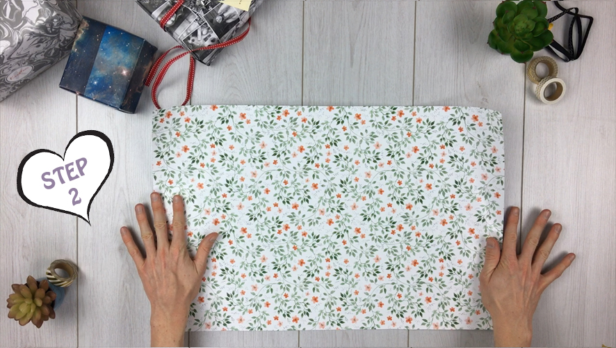 how to make a gift bag from wrapping paper step 2