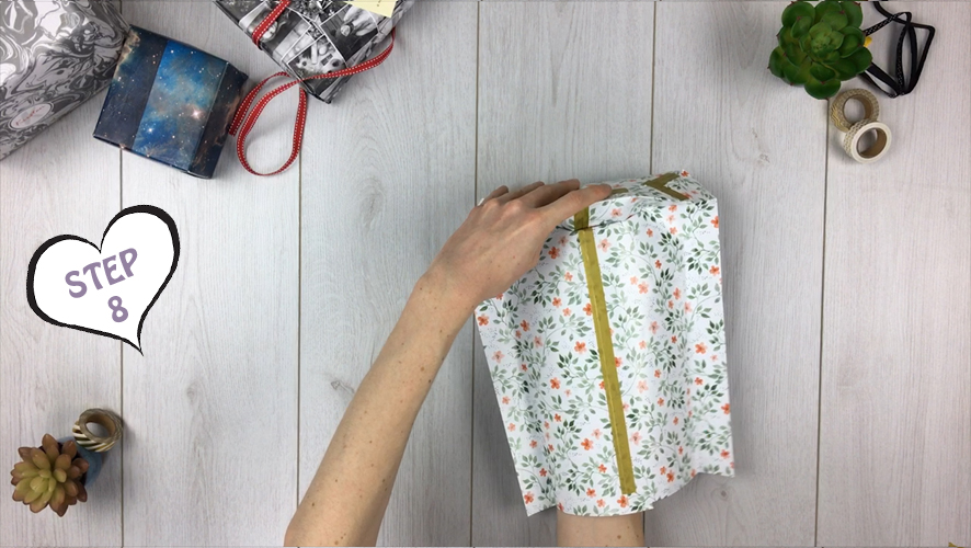 how to make a gift bag from wrapping paper step 8