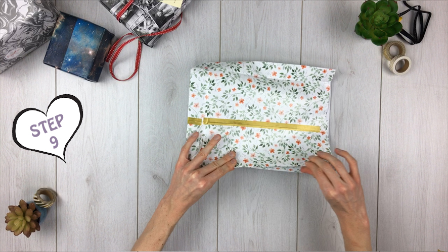 how to make a gift bag from wrapping paper step 9