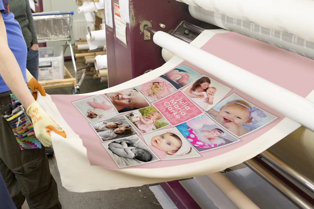 printing fabric to make a baby blanket