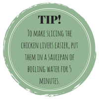 treat cooking tip boil livers in water for 5 minutes