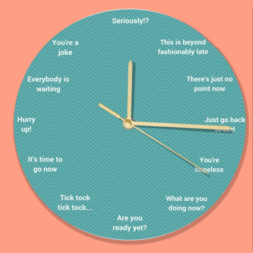 late funny clock design