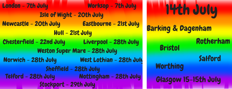 Pride dates July 2018