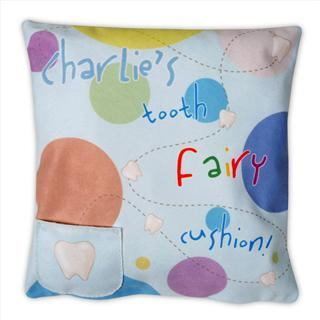 personalised tooth fairy cushion detail