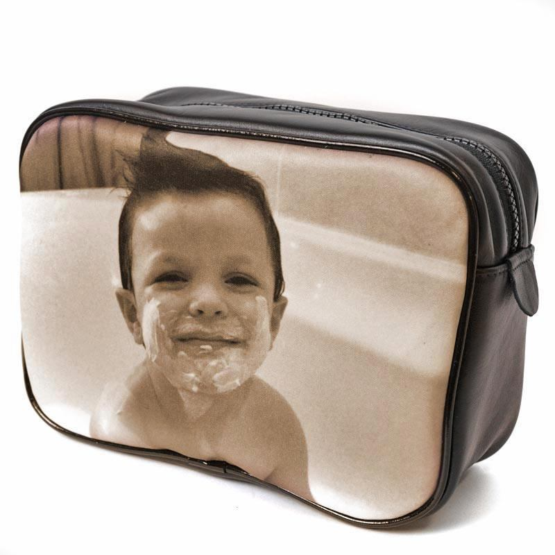 personalised washbag Christmas gifts with a cute picture of a young boy in the bathtub