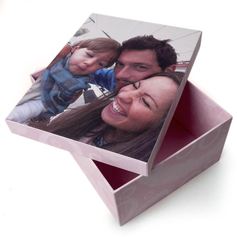 photo storage box with a happy couple and their newborn baby
