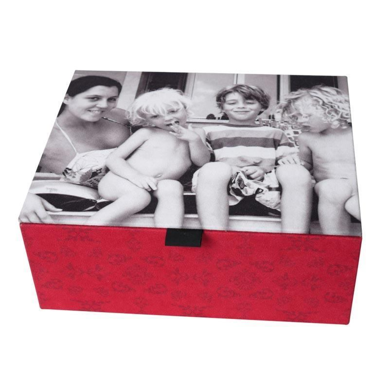 personalised jewellery box with a black and white photo of a mum and four children