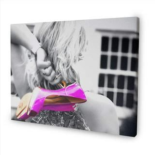 woman holding shoes colour splash canvas