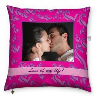 couple valentines cushion purple hearts