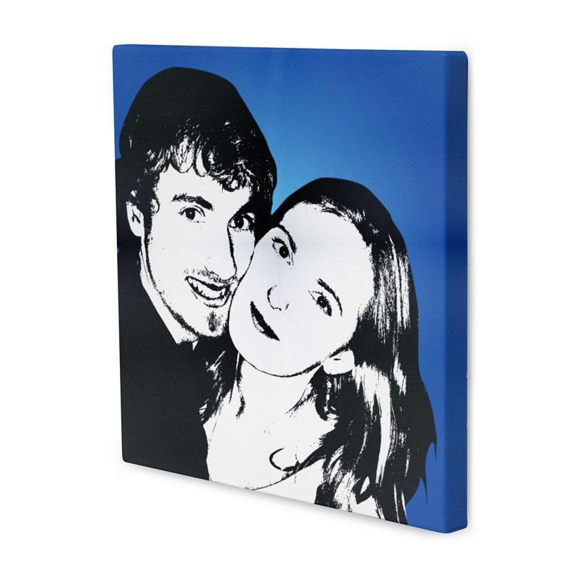 photo canvas in Che style of a lovely couple with a bright blue, powerful background