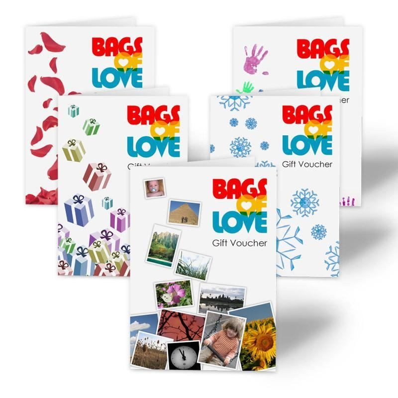 5 pictures of the various online gift vouchers offered by Bags of Love
