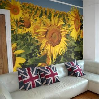 personalised photo wallpaper sunflower lounge